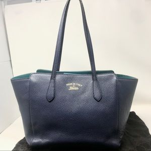 Gucci Navy Blue Leather Swing Tote w/Teal Contrast